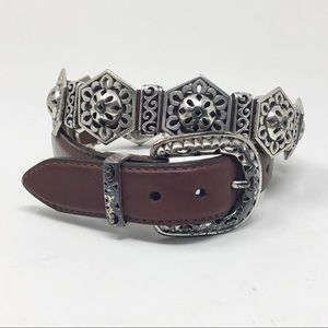Brighton brown leather metal Concho belt
